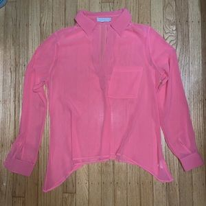 4/$20 Pink Long sleeve sheer button down blouse